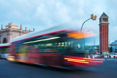 Evening trafic in Espanya square , Barcelona, Spain. Stock Images