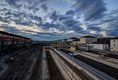 Evening train station. Wild evening sky over the Regensburg station Royalty Free Stock Images