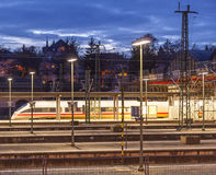 Evening train traffic in Wiesbaden Royalty Free Stock Photos
