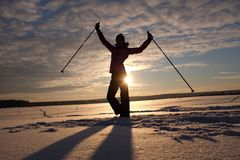 Evening traing ski. Evening skier in the snow russian field royalty free stock photos