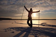 Evening traing ski. Evening skier in the snow russian field Stock Image