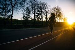 Evening training on the embankment. Evening training in the open air Stock Images
