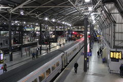 Evening trains in Leeds railway station Royalty Free Stock Photography