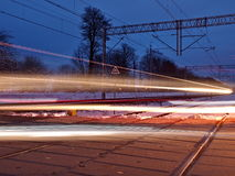 Evening trains. Royalty Free Stock Images