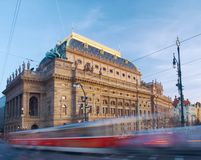 Evening tram  passes by  the National Theatre in Prague Royalty Free Stock Photos