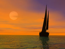 Evening travel. Yacht sailing on calm sea at sunset Stock Photos