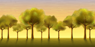 Evening trees. Several trees growing in a line against an evening sky background (other landscapes are in my gallery stock illustration