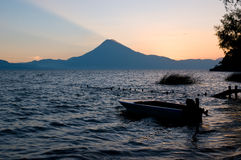 Evening twilight at lake atitlan. Lake atitlan, guatemala, one of the most beautiful lakes of the world, in the last light of the day Royalty Free Stock Images