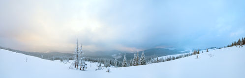 Evening twilight winter mountain panorama Royalty Free Stock Photography