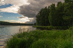 Evening on the Ural river Stock Photography