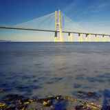 Evening on Vasco da Gama bridge Stock Photography