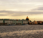 Evening view. Evening view of  Hermitage, Isaac cathedral, and Admiralty Stock Image
