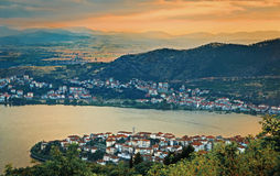 Evening view from above the city of Kastoria, Greece Royalty Free Stock Photos