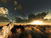 Evening view above clouds. Beautiful evening view above cloudscape and mountains Royalty Free Stock Photography