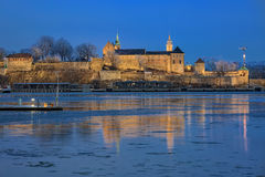 Evening view of the Akershus Fortress in Oslo, Norway royalty free stock photos