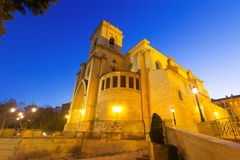 Evening view of  Albacete Cathedral.  Castile-La Mancha, Spain. Wide angle shot of evening view of  Albacete Cathedral.  Castile-La Mancha, Spain Royalty Free Stock Photography