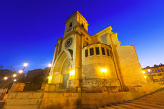 Evening view of  Albacete Cathedral.    Spain. Wide angle photo of evening view of  Albacete Cathedral.    Spain Stock Photos