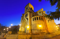 Evening view of  Albacete Cathedral. Wide angle photo of evening view of  Albacete Cathedral.  Castile-La Mancha, Spain Stock Photos