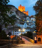 Evening view of Alcala del Jucar with  castle and bridge Royalty Free Stock Photo