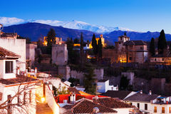 Evening view of  Alhambra with Sierra Nevada in    Granada Stock Image