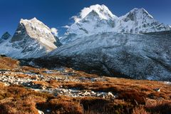 Evening view of Ama Dablam Stock Images