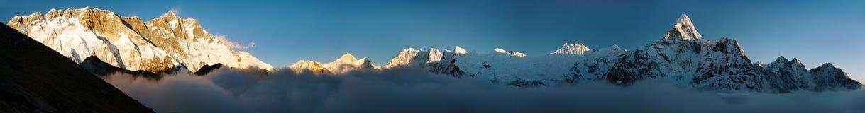 Evening view of Ama Dablam, Lhotse, Nuptse and Makalu Stock Photo