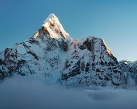 Evening view of Ama Dablam Stock Image