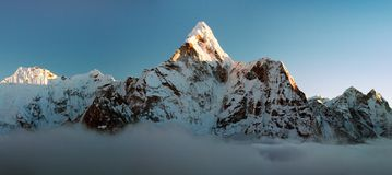 Evening view of Ama Dablam - Way to Everest Base Camp Stock Photos