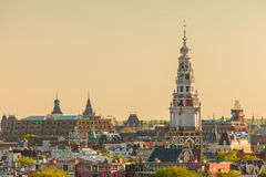 Evening view of the Amsterdam city center Royalty Free Stock Photo