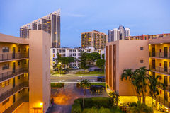 Evening view from apartment to the trump towers at Sunny Isles Beach Royalty Free Stock Photography