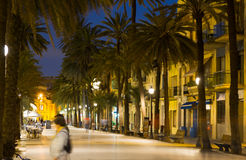 Evening view of   Badalona. Evening view of seafront  sidewalk at Badalona Stock Photos