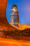 Evening view of Barcelona - Torre agbar Royalty Free Stock Photography