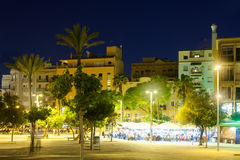 Evening view of Barceloneta district from sea side. Stock Images