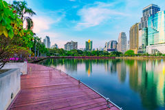 Evening view of Benjakitti park Stock Images