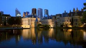 Evening view on Binnenhof Palace stock video footage