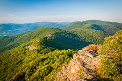 Evening view of the Blue Ridge Mountains from Little Stony Man C stock image