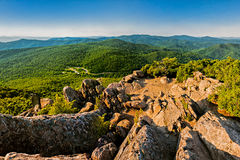 Evening view of the Blue Ridge Mountains from Mary's Rock, along Stock Photos