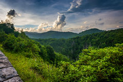 Evening view from the Blue Ridge Parkway in North Carolina. Royalty Free Stock Photos