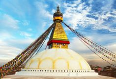 Evening view of Bodhnath stupa - Kathmandu Stock Photo