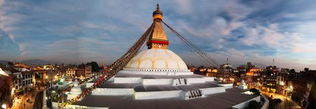 Evening view of Bodhnath stupa - Kathmandu Stock Images