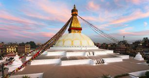 Evening view of Bodhnath stupa - Kathmandu - Nepal Royalty Free Stock Photography