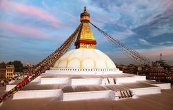 Evening view of Bodhnath stupa - Kathmandu Royalty Free Stock Images