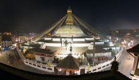 Evening view of Bodhnath stupa Stock Photo