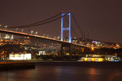 Evening view of the Bosphorus Bridge. The coast of the Bosphorus. Stock Photos