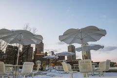 Evening view of Boston in winter. Royalty Free Stock Images