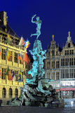 Evening view of Brabo fountain in Antwerp, Belgium Royalty Free Stock Photography