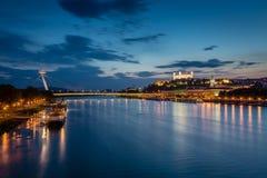Evening view of Bratislava, Slovakia. Stock Photography