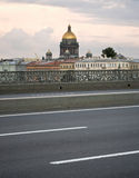 Evening view from bridge on Isaakievsky Cathedral Stock Photo