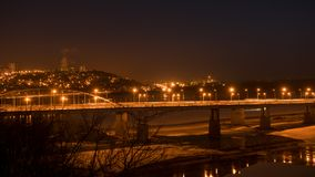 Evening view of bridge over White River in Ufa at winter, Russia, Royalty Free Stock Images