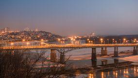 Evening view of bridge over White River in Ufa at winter, Russia, Stock Photos